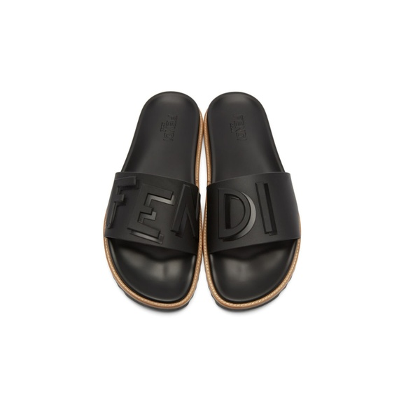 4b2b0cbc4ec6 Mens Rubber Black Fendi Vocabulary Slides Sandals